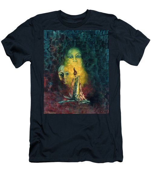 Candle Light Mother Child Faces In Yellow Candle Light Blue Red Background  Men's T-Shirt (Athletic Fit)