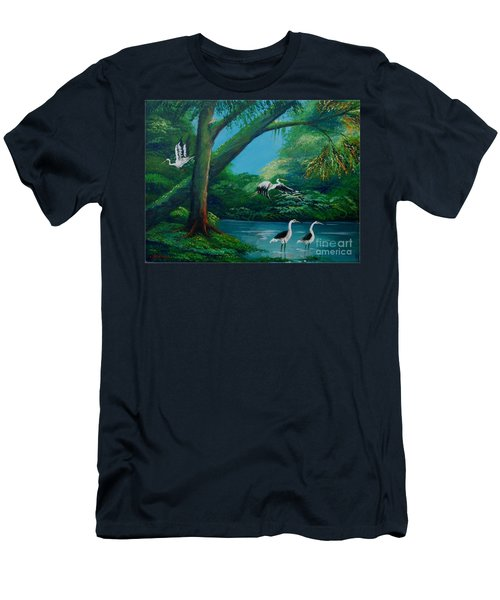Cranes On The Swamp Men's T-Shirt (Athletic Fit)