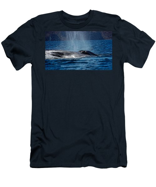 Men's T-Shirt (Slim Fit) featuring the photograph Fin Whale Spouting by Don Schwartz