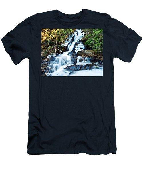 Men's T-Shirt (Slim Fit) featuring the photograph Frozen Waterfall by Susan Leggett