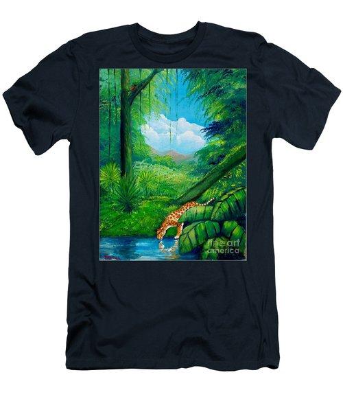 Jaguar Drinking Water Men's T-Shirt (Athletic Fit)