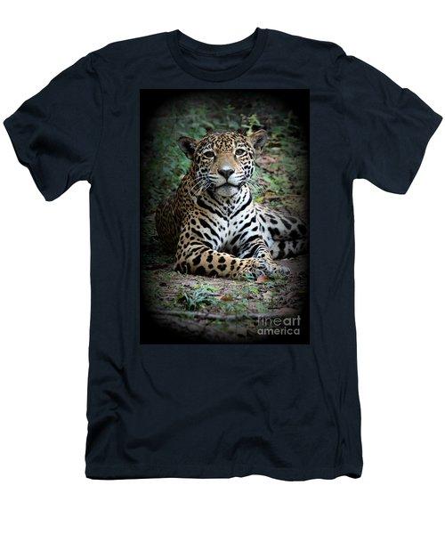 Men's T-Shirt (Slim Fit) featuring the photograph Jaguar Portrait by Kathy  White