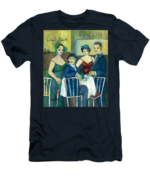 Parisian Cafe Scene In Blue Green And Brown Men's T-Shirt (Athletic Fit)