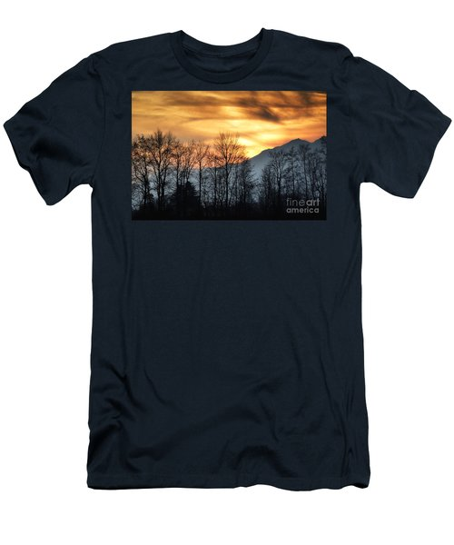 Trees With Orange Sky Men's T-Shirt (Athletic Fit)