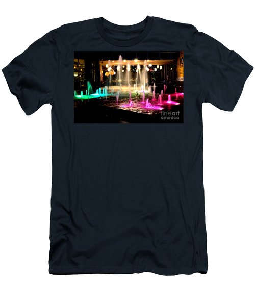 Water Fountain With Stars And Blue Green With Pink Lights Men's T-Shirt (Athletic Fit)