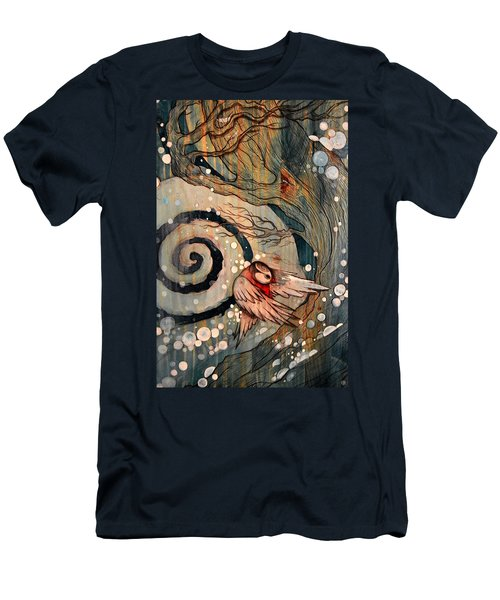 Men's T-Shirt (Slim Fit) featuring the painting Winter Becoming by Sandro Ramani