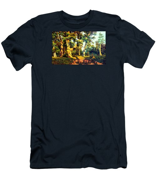 Men's T-Shirt (Slim Fit) featuring the painting   Green Summer-the Oak Forest by Henryk Gorecki