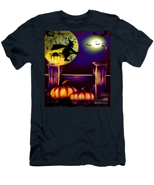 Halloween Witches Moon Bats And Pumpkins Men's T-Shirt (Slim Fit) by Annie Zeno