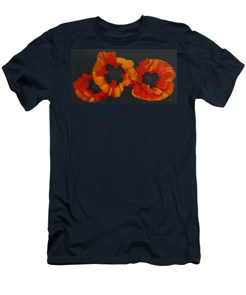 Men's T-Shirt (Athletic Fit) featuring the painting 3 Poppies by Richard Le Page
