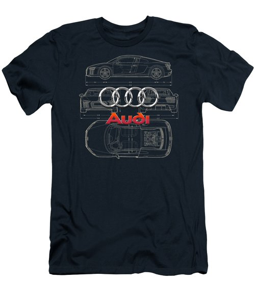 Audi 3 D Badge Over 2016 Audi R 8 Blueprint Men's T-Shirt (Slim Fit) by Serge Averbukh