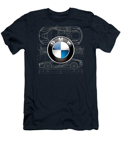 B M W 3 D Badge Over B M W I8 Blueprint  Men's T-Shirt (Slim Fit) by Serge Averbukh