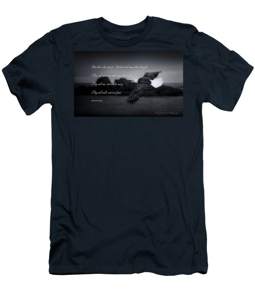 Men's T-Shirt (Slim Fit) featuring the photograph Bald Eagle In Flight With Bible Verse by John A Rodriguez