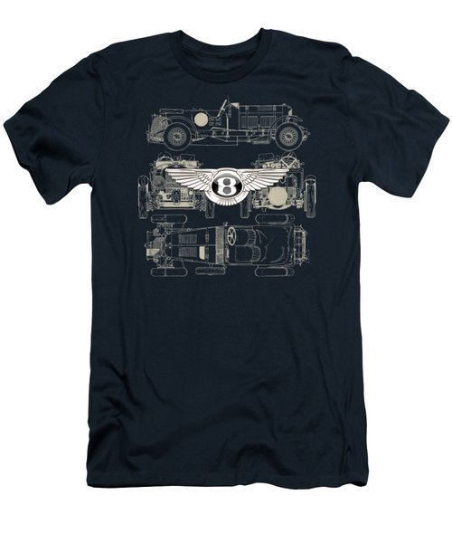 Bentley - 3 D Badge Over 1930 Bentley 4.5 Liter Blower Vintage Blueprint Men's T-Shirt (Slim Fit) by Serge Averbukh
