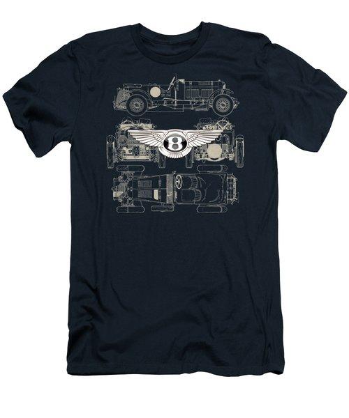 Bentley - 3 D Badge Over 1930 Bentley 4.5 Liter Blower Vintage Blueprint Men's T-Shirt (Slim Fit)