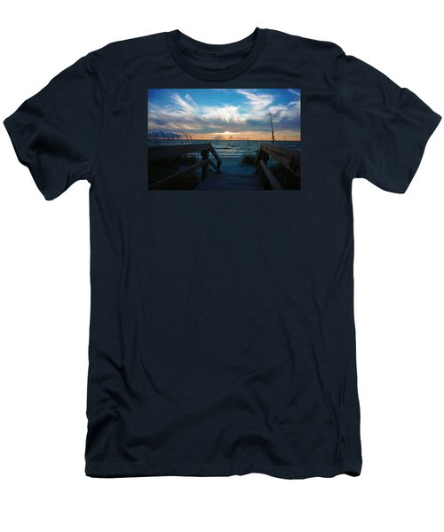 Boardwalk At Delnor-wiggins Pass State Park Men's T-Shirt (Slim Fit) by Robb Stan