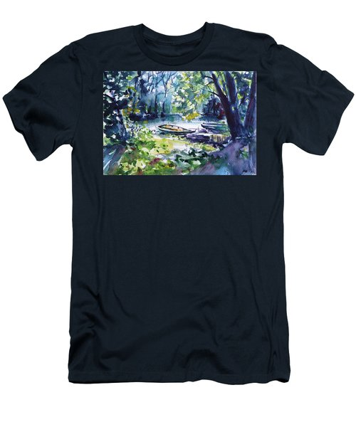 Men's T-Shirt (Slim Fit) featuring the painting Boat by Kovacs Anna Brigitta