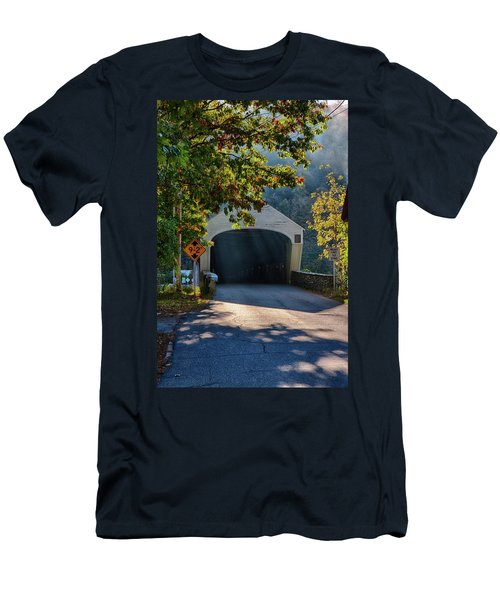Men's T-Shirt (Athletic Fit) featuring the photograph Cornish-windsor Covered Bridge by Jeff Folger