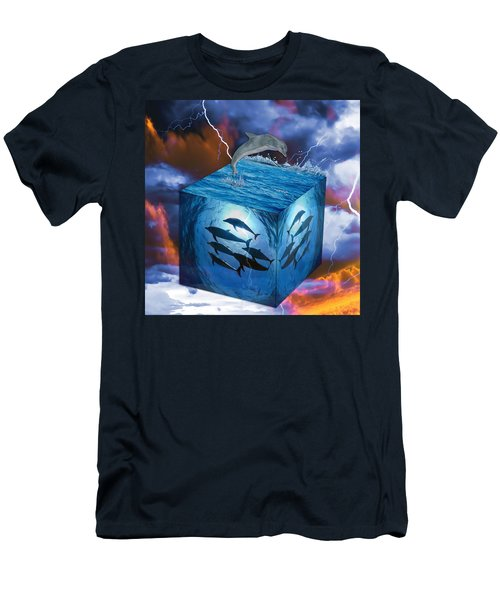 Men's T-Shirt (Athletic Fit) featuring the mixed media Dolphin Art by Marvin Blaine