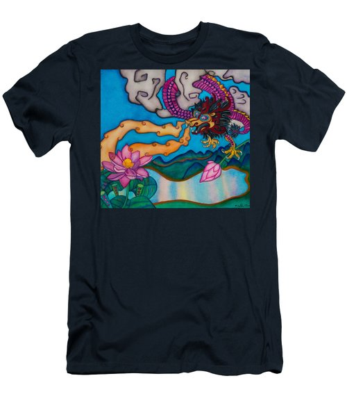 Men's T-Shirt (Slim Fit) featuring the painting Dragon Heart And Lotus Flower by Lori Miller