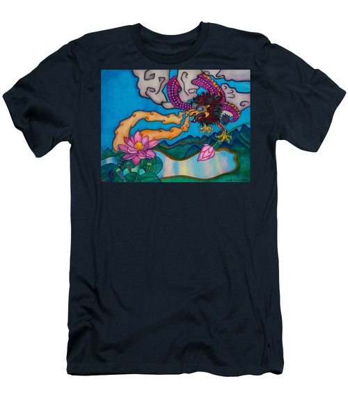 Dragon Heart And Lotus Flower Men's T-Shirt (Athletic Fit)