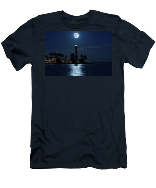 Full Moon Over Hillsboro Lighthouse In Pompano Beach Florida Men's T-Shirt (Athletic Fit)
