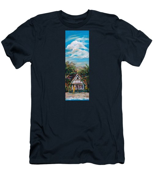 Island Bungalow Men's T-Shirt (Slim Fit) by Linda Olsen