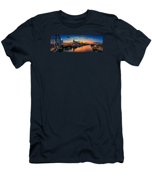 Nashville Skyline Panorama Men's T-Shirt (Slim Fit) by Brett Engle