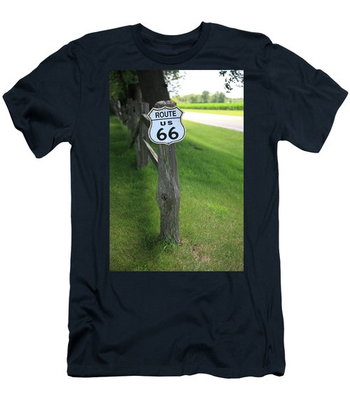 Men's T-Shirt (Slim Fit) featuring the photograph Route 66 Shield And Fence Post by Frank Romeo
