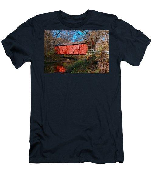 Sandy /creek Covered Bridge, Missouri Men's T-Shirt (Slim Fit) by Steve Warnstaff