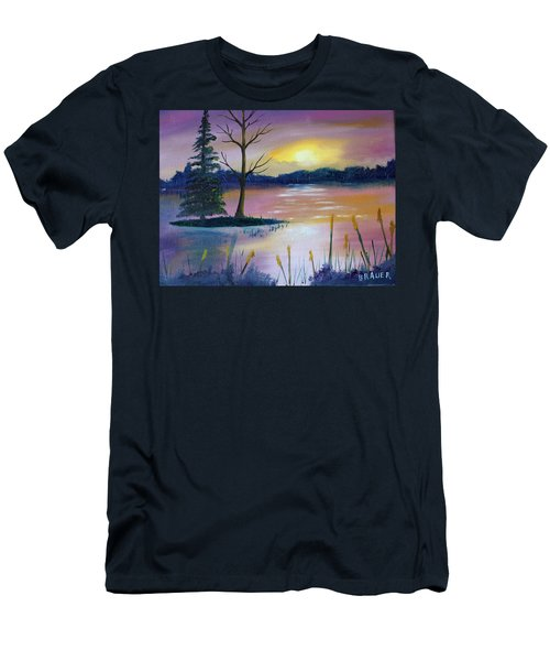 Men's T-Shirt (Slim Fit) featuring the painting Stormy Sunset by Jack G Brauer