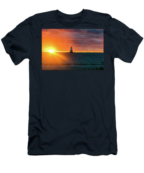 Sunset And Lighthouse Men's T-Shirt (Athletic Fit)
