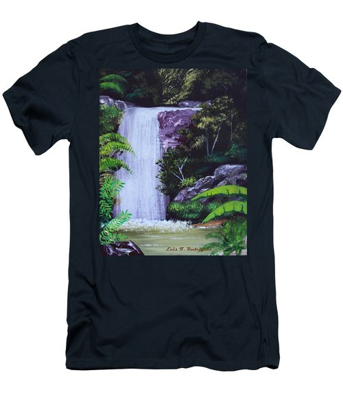 Tropical Waterfall Men's T-Shirt (Slim Fit) by Luis F Rodriguez