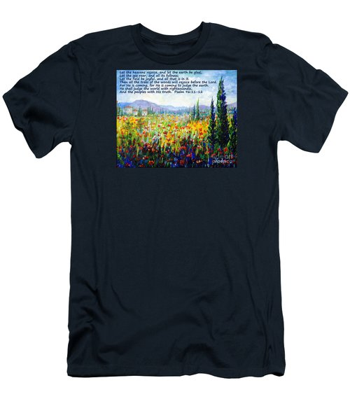 Men's T-Shirt (Slim Fit) featuring the painting Tuscany Fields With Scripture by Lou Ann Bagnall