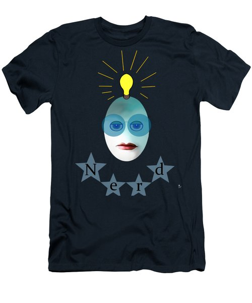 Men's T-Shirt (Slim Fit) featuring the painting 1282 - Nerd T Shirt Design by Irmgard Schoendorf Welch