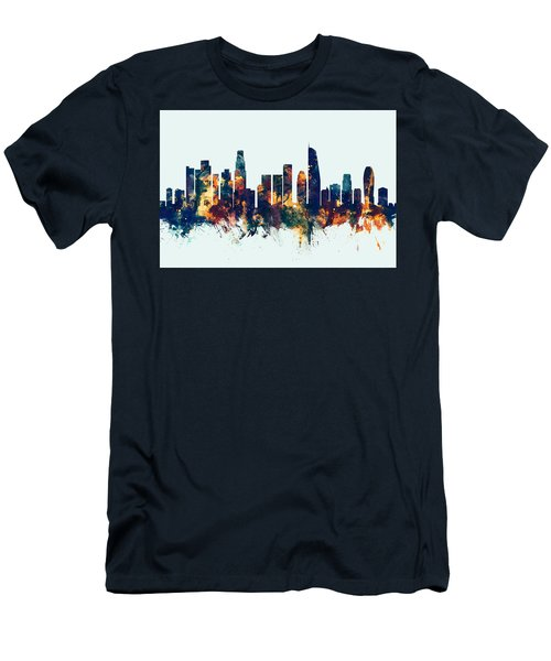 Los Angeles California Skyline Men's T-Shirt (Slim Fit) by Michael Tompsett