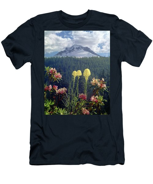 1m5101 Flowers And Mt. Hood Men's T-Shirt (Athletic Fit)
