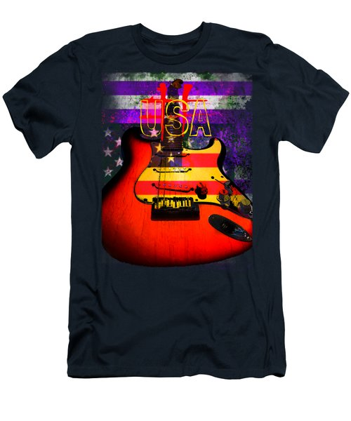 Red Usa Flag Guitar  Men's T-Shirt (Athletic Fit)