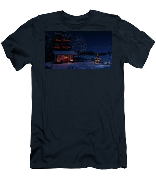 Men's T-Shirt (Slim Fit) featuring the photograph Winter Night Greetings In English by Torbjorn Swenelius