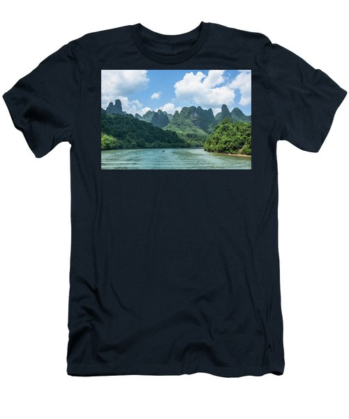 Lijiang River And Karst Mountains Scenery Men's T-Shirt (Athletic Fit)