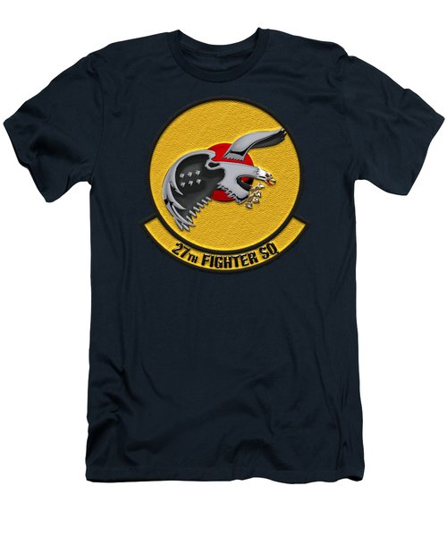 Men's T-Shirt (Slim Fit) featuring the digital art 27th Fighter Squadron - 27 Fs Over Blue Velvet by Serge Averbukh