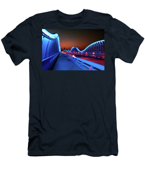 Amazing Night Dubai Vip Bridge With Beautiful Sunset. Private Ro Men's T-Shirt (Athletic Fit)
