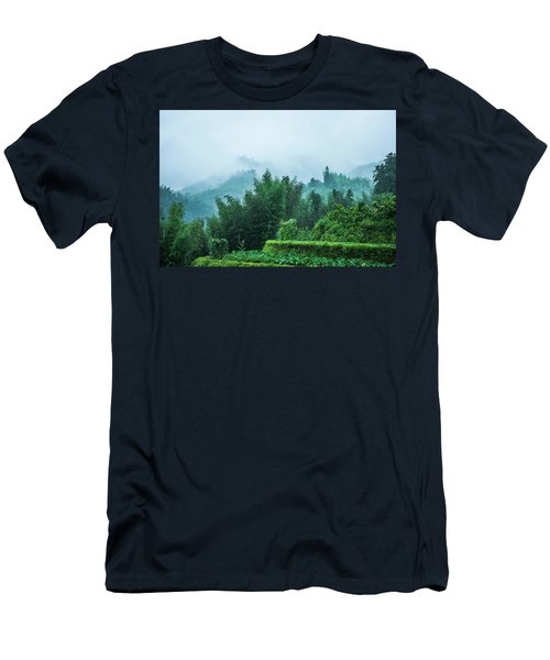 Men's T-Shirt (Athletic Fit) featuring the photograph Mountains Scenery In The Mist by Carl Ning