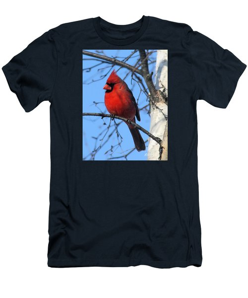 Northern Cardinal Men's T-Shirt (Slim Fit) by Ricky L Jones