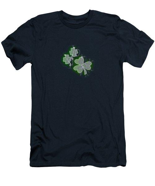 Men's T-Shirt (Athletic Fit) featuring the digital art 3 Shamrocks by Judy Hall-Folde