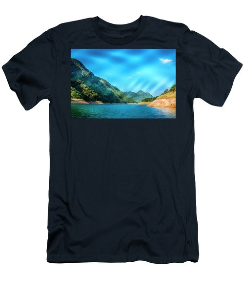 Men's T-Shirt (Athletic Fit) featuring the photograph The Mountains And Reservoir Scenery With Blue Sky by Carl Ning