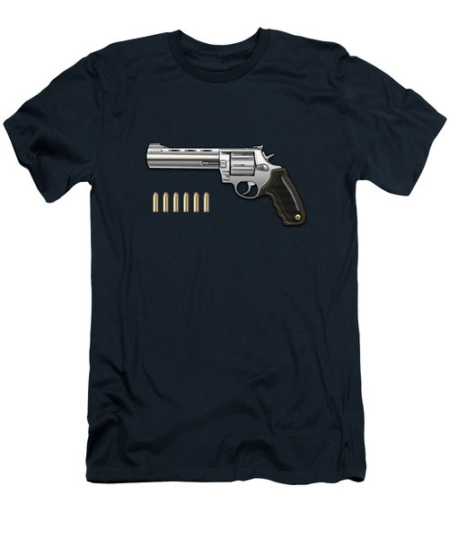 .44 Magnum Colt Anaconda With Ammo On Blue Velvet  Men's T-Shirt (Athletic Fit)