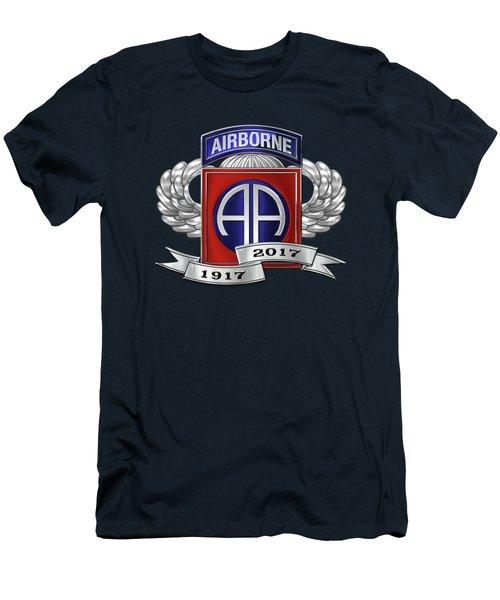 Men's T-Shirt (Slim Fit) featuring the digital art 82nd Airborne Division 100th Anniversary Insignia Over Blue Velvet by Serge Averbukh