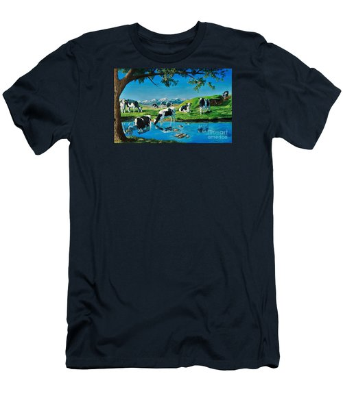 A Black And White Field Men's T-Shirt (Slim Fit) by Ruanna Sion Shadd a'Dann'l Yoder