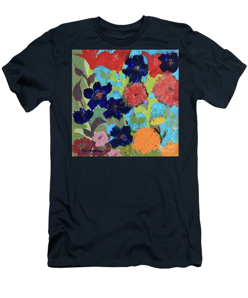 Men's T-Shirt (Athletic Fit) featuring the painting A Dandelion Weed Making It's Way In The Garden by Robin Maria Pedrero