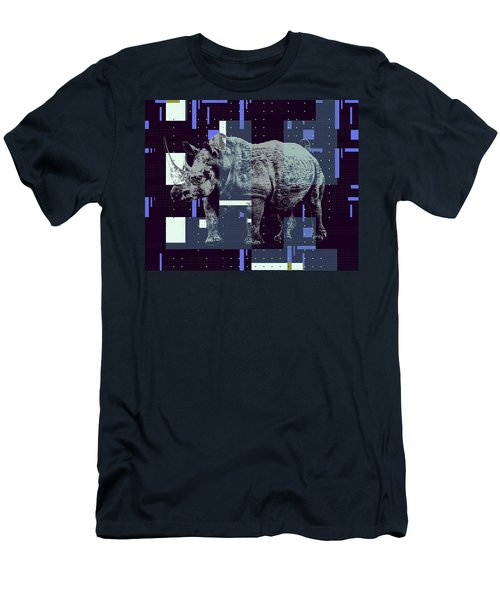 Men's T-Shirt (Athletic Fit) featuring the digital art A Geometric Rhinoceros. by Anthony Murphy